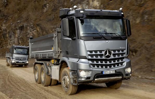 Picture road, Mercedes-Benz, grey, 2013, triaxial, Arocs, trucks