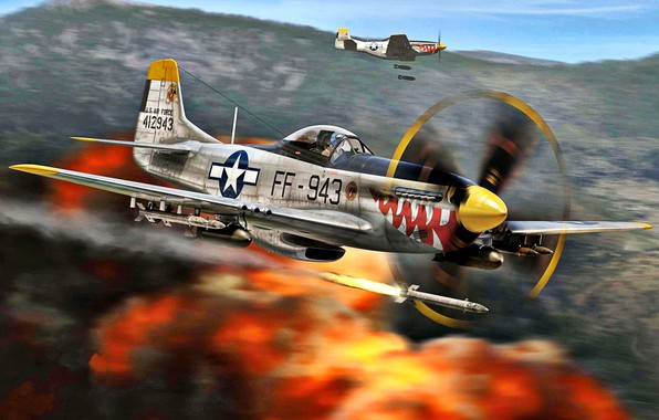 Picture Mustang, The explosion, USAF, The Korean war 1950-1953, HVAR, bombs, 18th FBG, F-51D, Korea 1950