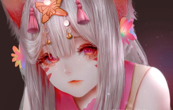 Picture face, hairstyle, red eyes, cat ears, neko girl, by Aoi Ogata