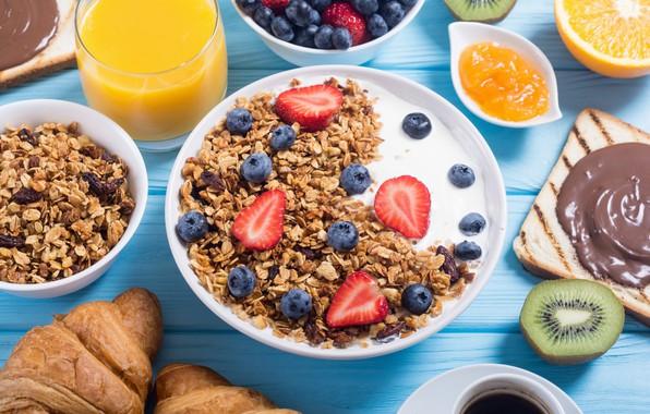 Picture berries, coffee, food, Breakfast, juice, yogurt, orange, granola