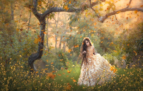 Picture autumn, flowers, tree, dress, girl, long hair