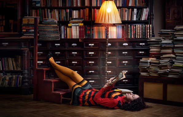 Picture pose, model, books, lamp, makeup, dress, brunette, hairstyle, shoes, lies, library, legs, twilight, floor lamp, …