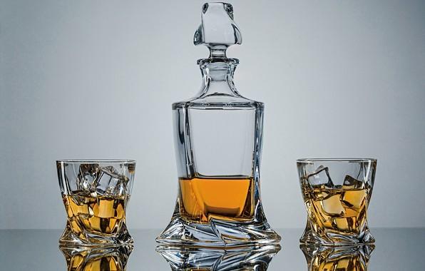 Picture style, background, ice, glasses, whiskey, decanter, Евгений Дёгтев