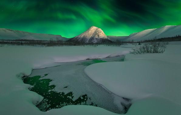 Picture stars, snow, mountains, Aurora, mountains, snow, stars, Polar lights, The Kola Peninsula, Zhu Xiao, Kola …