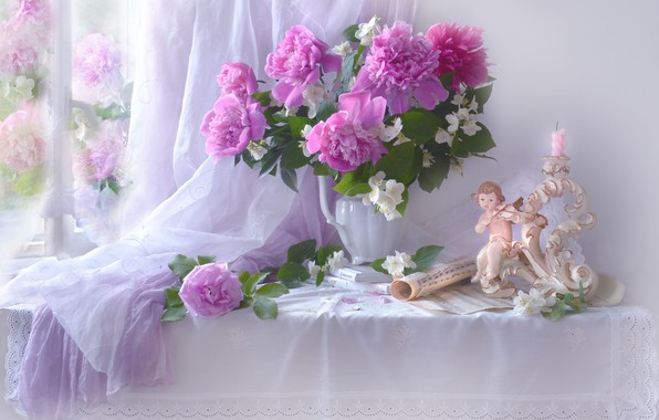 Picture flowers, branches, notes, rose, books, candle, window, girl, pitcher, still life, table, figure, peonies, fabric, …