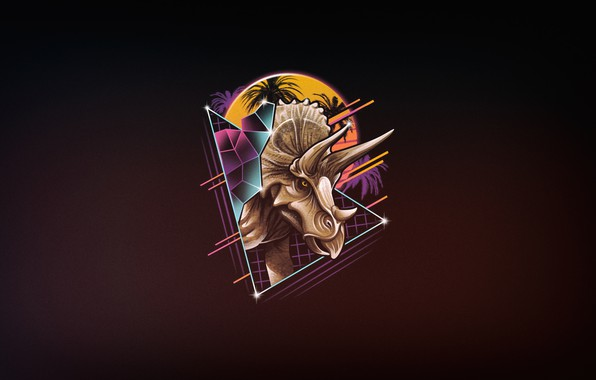 Picture Minimalism, Figure, Dinosaur, Art, 80s, Neon, Triceratops, 80's, Synth, Retrowave, Rad, Triceratops, Synthwave, New Retro …