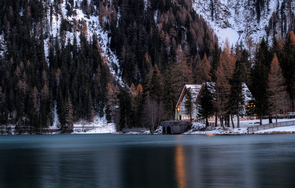 Picture lights, house, forest, Winter, trees, landscape, nature, water, lake, snow, evening