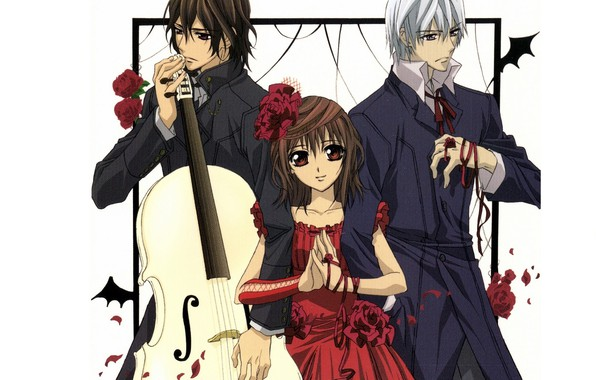 Picture cello, red dress, art, kaname kuran, vampire knight, yuuki cross, knight-vampire, flower in hair, thoroughbred, …