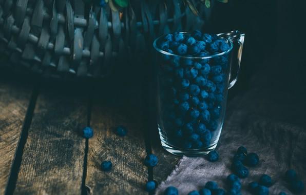 Picture glass, food, blur, berries, basket, blueberries, bush