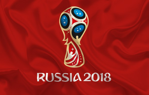 Picture sport, logo, Russia, football, soccer, World Cup, FIFA, red background, FIFA World Cup, official logo, …