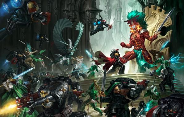 Picture space Marines, Eldar, space marines, eldar, Warhammer, Warhammer 40 000, Avatar of Khaine, Xenoy, Deathwatch, …