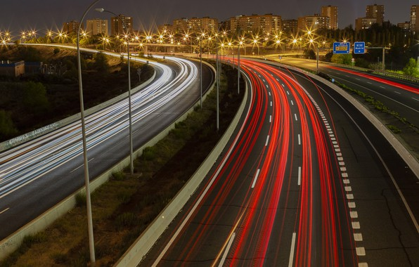 Picture Spain, Madrid, Light trails, M-40 Highway