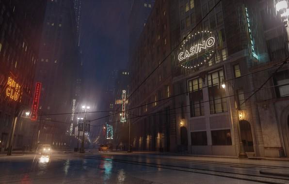 Picture night, city, neon, day, signs, night city, slush, the city of lost heaven, Mafia, Hangar …