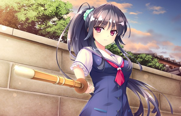 Picture the sky, look, girl, the fence, form, Anime, wooden sword
