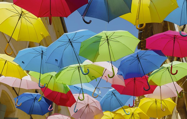 Picture France, umbrella, umbrellas, Beziers, street the Citadel