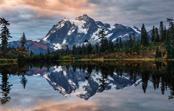 Picture autumn, forest, the sky, water, clouds, trees, mountains, lake, reflection, USA, Mount Shuksan, Shuksan