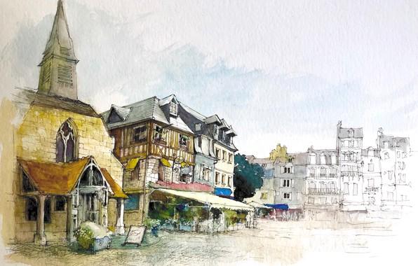 Picture the city, figure, France, home, watercolor, Honfleur