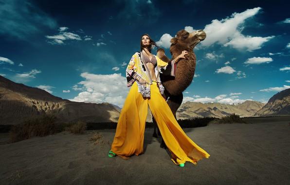 Picture girl, desert, model, camel
