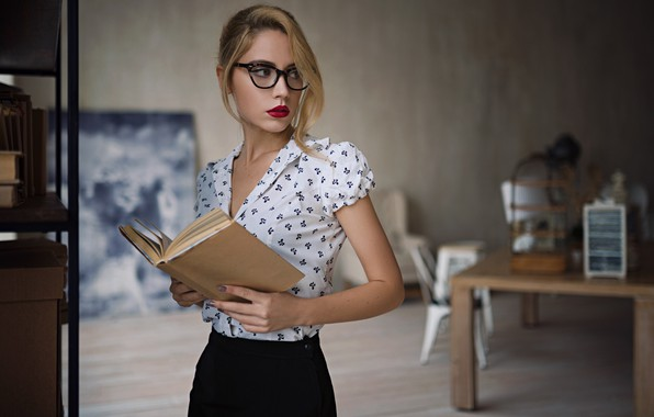 Picture Girl, glasses, book, Kseniya Kokoreva, Sergey Zhirnov