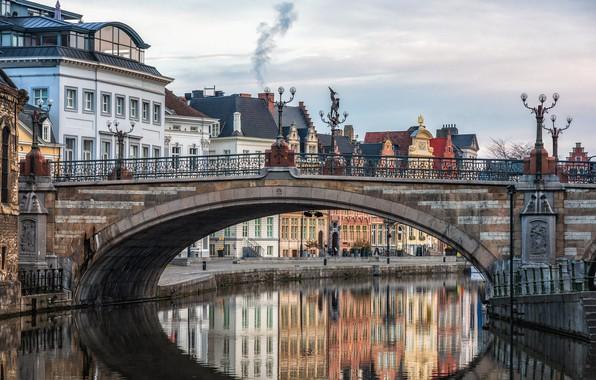 Picture bridge, river, home, Belgium, Ghent
