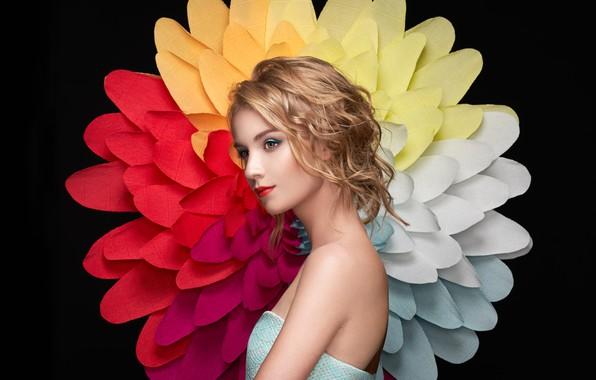 Picture flower, pose, model, portrait, makeup, hairstyle, blonde, beauty, black background, Oleg Gekman