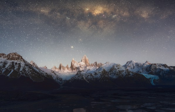 Picture the sky, stars, mountains, The Milky Way, sky, mountains, stars, Milky Way, Patagonia, Patagonia, Zhu …