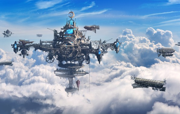 Picture The sky, Clouds, Figure, Station, The airship, Fantasy, Art, Fiction, Concept Art, Steampunk, Steampunk, Ship, …