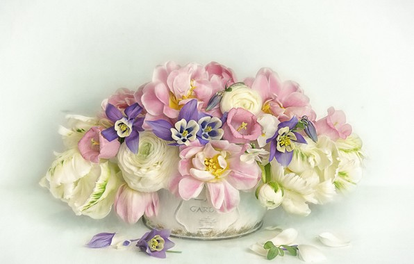 Picture flowers, bouquet, petals, art, tulips, pot, pink, white, still life, painting, bells, light background, different, …