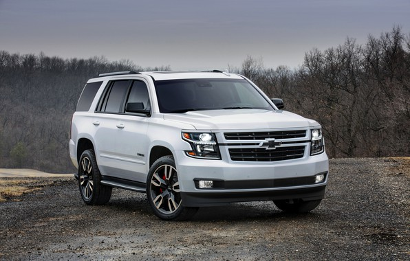 Picture white, trees, Chevrolet, 2018, SUV, Tahoe