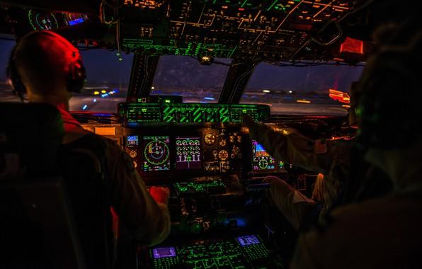 Picture Backlight, Galaxy, USAF, Pilot, C-5 Galaxy, Cockpit, C-5M Super Galaxy