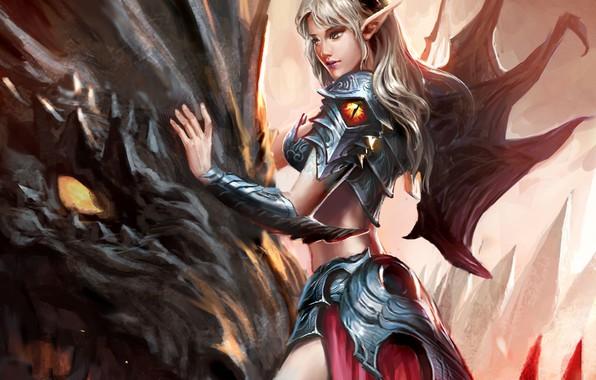 Picture girl, fantasy, horns, armor, wings, dragon, artwork, fantasy art, Elf, creature, armored, fantasy girl, pointed …