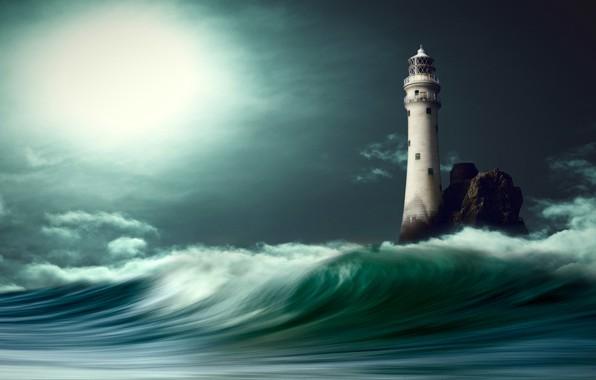 Picture sea, clouds, light, night, graphics, wave, lighthouse, digital art, nikos Bantouvakis