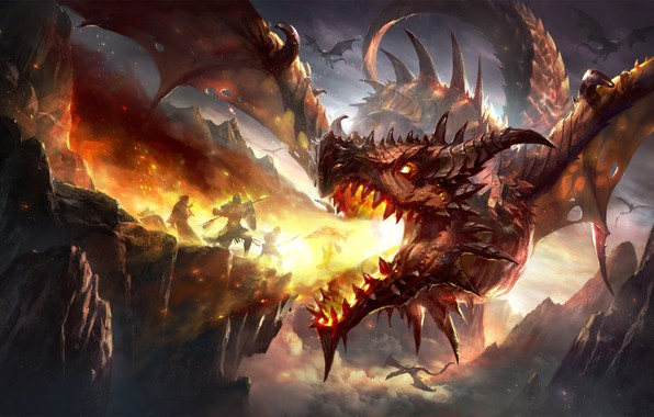 Picture fire, fantasy, Dragon, horns, armor, wings, mountains, rocks, battle, weapons, digital art, artwork, warriors, shield, …