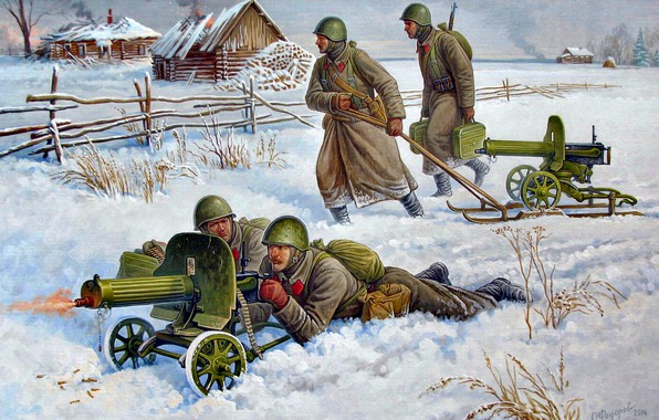 Picture Winter, The great Patriotic war, Soviet, The red army, The second World war, easel, The ...