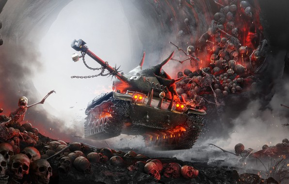 Picture Skull, Halloween, Tank, Skeletons, World of Tanks, Hell
