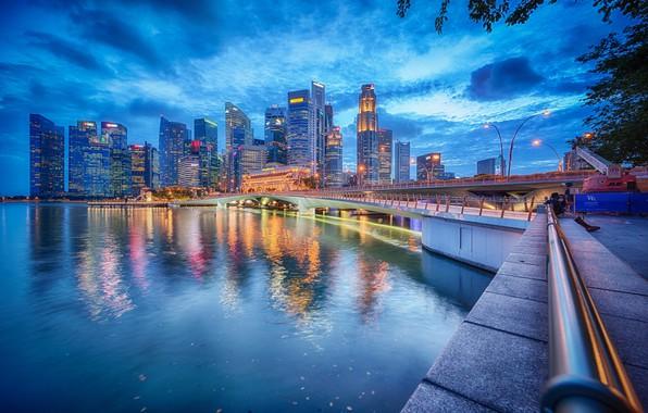 Picture bridge, building, Bay, Singapore, night city, promenade, skyscrapers, Singapore, Marina Bay, Marina Bay, Jubilee Bridge, …
