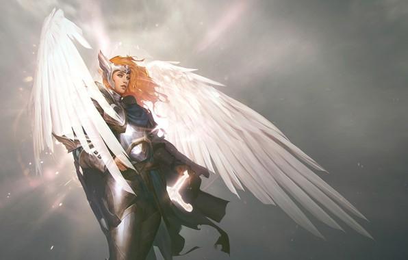 Picture Girl, Figure, Angel, Wings, Art