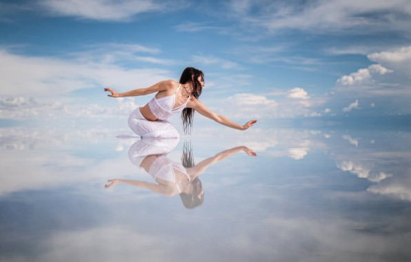 Picture the sky, water, girl, pose, reflection, mood, dance, hands
