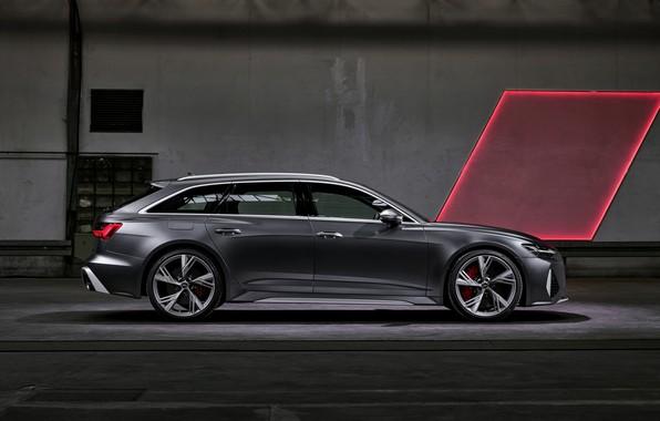 Picture Audi, universal, in profile, RS 6, 2020, 2019, dark gray, V8 Twin-Turbo, RS6 Avant