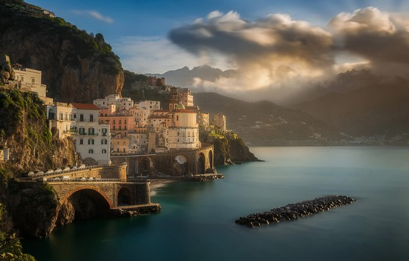 Picture sea, clouds, mountains, the city, rocks, coast, home, morning, Italy, Eugene Bartnicki