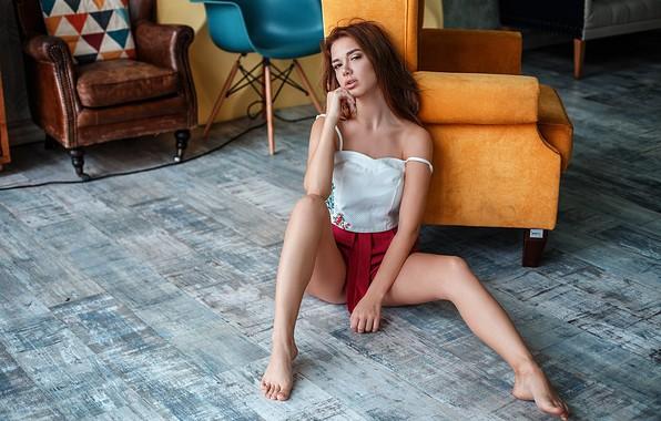 Picture look, girl, skirt, chair, legs, sitting, Ksenia Turlava, Vlad Popov
