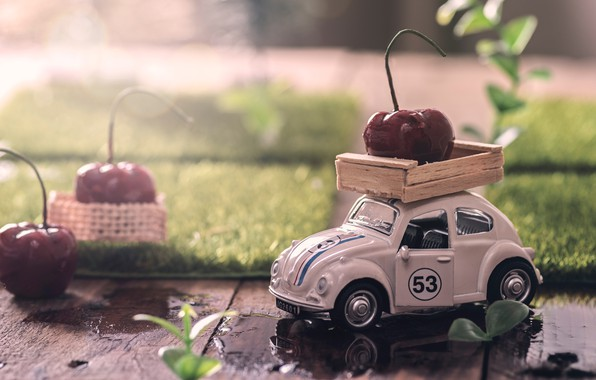 Picture water, berries, toy, Board, puddles, machine, cherry