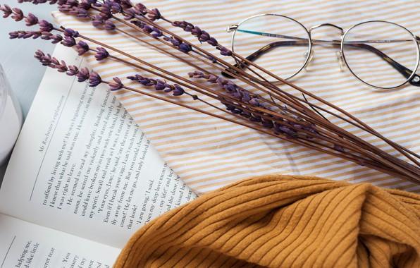 Picture style, glasses, book, lavender