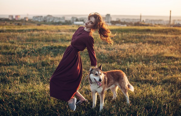 Picture girl, pose, dog, dress, meadow, Rome Rome
