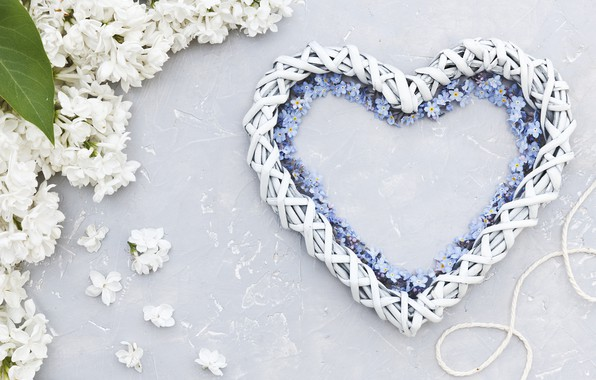 Picture flowers, heart, white, love, white, heart, flowers, lilac, romantic, forget-me-nots, spring, lilac, floral