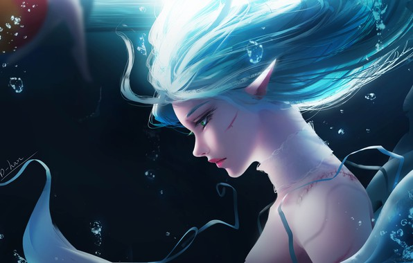 Picture girl, bubbles, fantasy, green eyes, underwater, artist, elf, digital art, artwork, fantasy art, scar, blue …