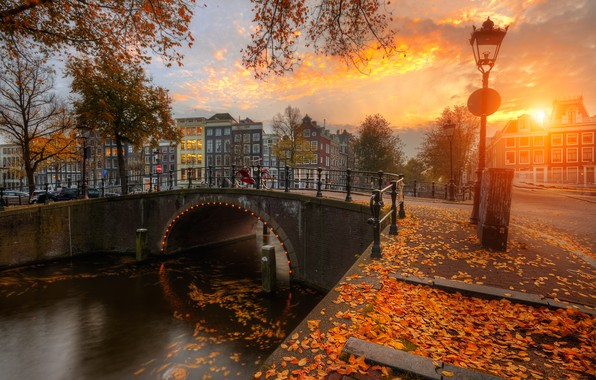 Picture autumn, sunset, bridge, the city, foliage, home, Amsterdam, channel, Netherlands, promenade, Holland, Ed Gordeev, Gordeev …