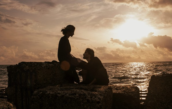 Picture sea, girl, male, lovers, Marta Syrka