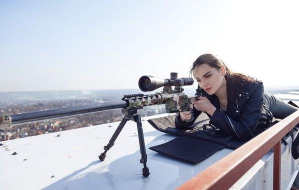 """Picture Girl, Sniper rifle Lobaeva, DVL-10 """"Urbana"""", Lying on the roof"""