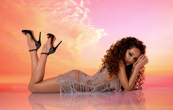 Picture chest, look, pose, reflection, background, model, body, makeup, figure, dress, hairstyle, shoes, lies, brown hair, …